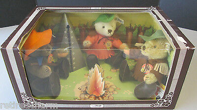 ❤ STEIFF NIMROD TEDDY BEAR SET USA Limited Edition 1983 Campfire 0210/22 NRFB ❤