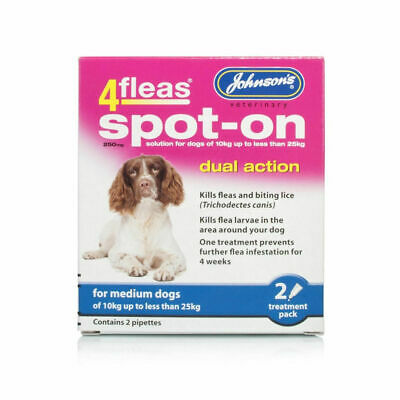 JOHNSONS 4FLEAS Medium DOG SPOT-ON DUAL ACTION TREATMENT KILL FLEAS & LARVAE