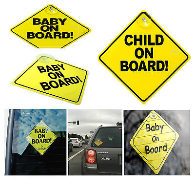 New Baby On Board Child Safety Suction Cups Car Vehicle Baby On Board Car Sign