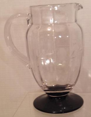 Tiffin Glass, Etched optic amethyst footed Pitcher