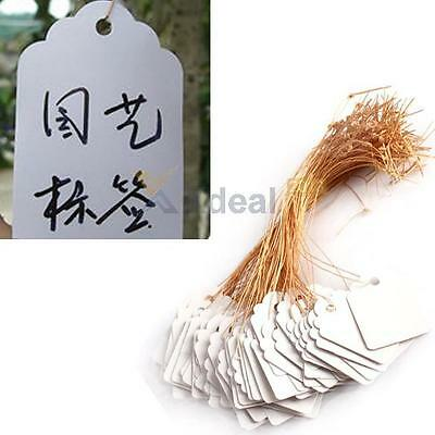 100pcs Waterproof Plastic Strip Line Garden Plant Labels Signs Hanging Tags Gray