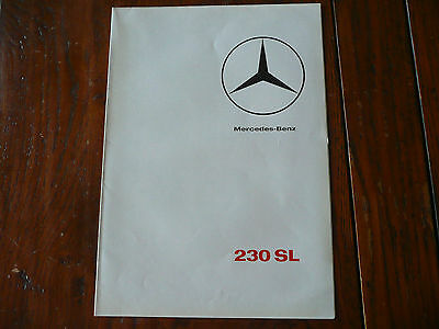 Brochure Prospekt Catalogue Dépliant Prospectus 1965 MERCEDES BENZ 230 SL French