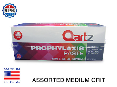 Qartz Prophy Paste Cups Assorted Medium 200/box  Dental Non Splatter W/fluoride