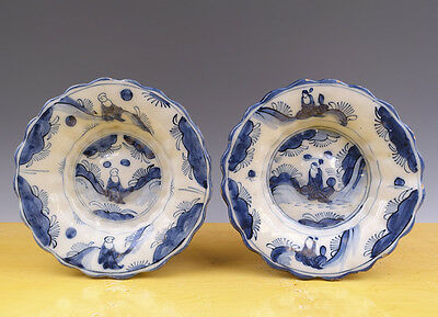 Antique Superb Pair of Dutch Delft Gadrooned Dishes Chinoiserie 17TH C. Wan-Li