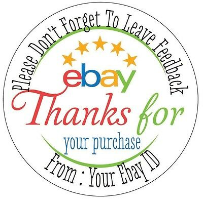 "24 Personalized 1.65"" Round Thank you Ebay Labels Printed Stickers"