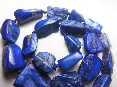 Natural Half Polished&Rough Tumble Shaped Lapiz Lazuli Beads String Afghanistan