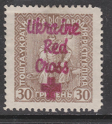 Early Ukraine stamp with Red cross overprint MLH M11014