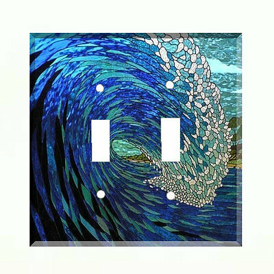 Stained Glass (paper) Ocean Wave Light Switch Plate Wall Cover Nautical Decor