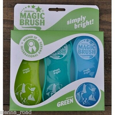 ORIGINAL MAGIC BRUSH - Set of 3 - Green Colour Pack - Horse/Pet Grooming Brushes