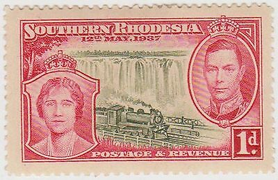 (IU151) 1937 South Rhodesia 1d red & black postage MH