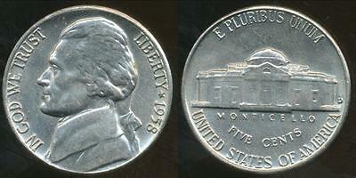 United States, 1958-D 5 Cents, Jefferson Nickel - Uncirculated