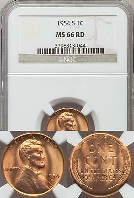 United States, 1954-S One Cent, Lincoln Wheat - NGC MS66RD