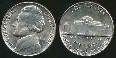 United States, 1948 5 Cents, Jefferson Nickel - Uncirculated