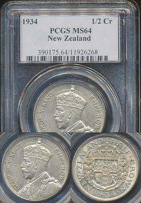 New Zealand, 1934 1/2 Crown, George V (Silver) - PCGS MS64