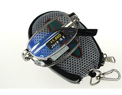 Men Metal Compact Folding Reading Glasses with Zip Case Strengths +1.00 to +4.00