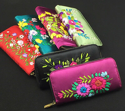 Wholesale6pcs Chinese Handmade Vintage Silk Embroidere Clutch Purse&Wallet