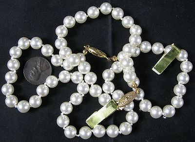 Knotted Faux Pearls Necklace & Bracelet Set 18""