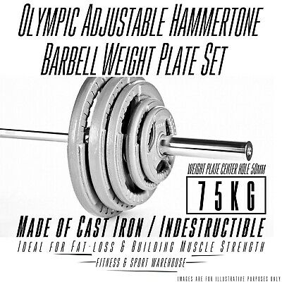 75kg Olympic Barbell & Weight Set in Cast Iron Plate, 7ft Olympic Bar