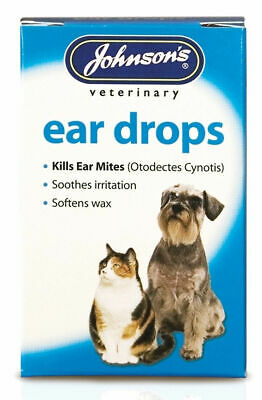 Johnsons Ear Drops Cats & Dogs Kills Mites 15ml- Posted Today if Paid Before 1pm