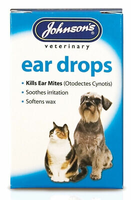 Johnsons Ear Drops for Cats & Dogs Kills Ear Mites - Softens Wax