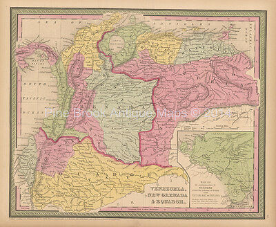 Venezuela Colombia Antique Map Cowperthwait 1853 Original