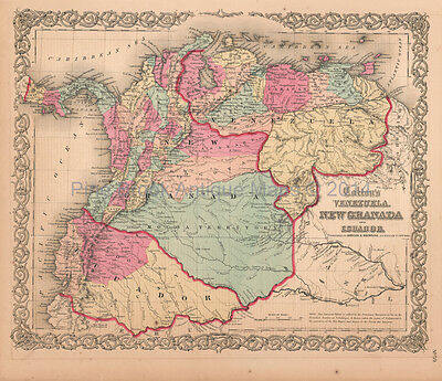 Venezuela Columbia New Granada Antique Map Colton 1859 Original