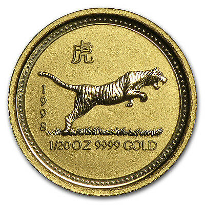 1998 Australia 1/20 oz Gold Lunar Tiger BU (Series I) - SKU #9002