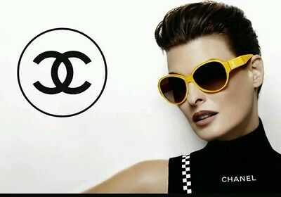 Chanel 5229Q Duble C Patent Leather Yellow Sunglasses