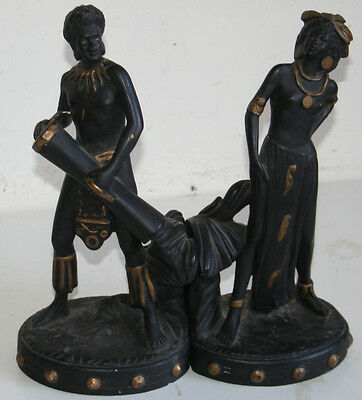 Old 1945 Florentine Art Pair of Blackamoors Bookend Plaster