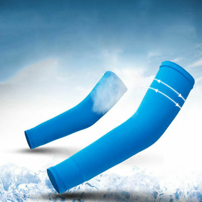 1Pair Light Blue Unisex Cycling Sport Arm Sleeves UV Skin Cover Sun Protector US