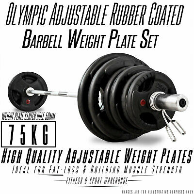 Olympic Barbell & Weight 75KG Set Rubber Coated Plates Fitness Home Gym exercise