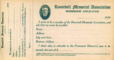 1919 Theodore Roosevelt Memorial Association Membership Application (1418)