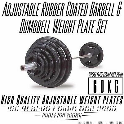 60kg Standard Rubber Coated Barbell/Dumbbell Weights Set Home Gym Training