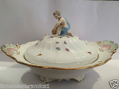 Antique Meissen Hand Painted Porcelain Soup Tureen With Cherub Finial