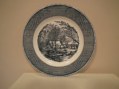 """Royal China USA - Cavalier Ironstone - 10"""" plate - Blue Currier & Ives"""