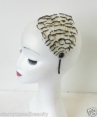 Ivory Cream Black Feather Headpiece Vintage Fascinator Headband 1920s Silver O44