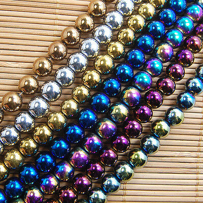 "Natural Hematite Gemstone Round Loose Beads 16"" Muli Color 2mm 3mm 4mm 6mm 8mm"