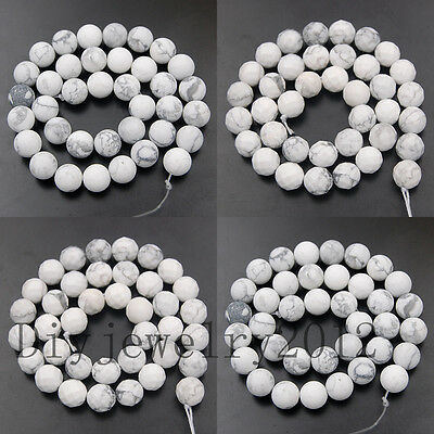 """Natural Smooth Mate Frosted Faceted White Howlite Turquoise Round Beads 15"""""""