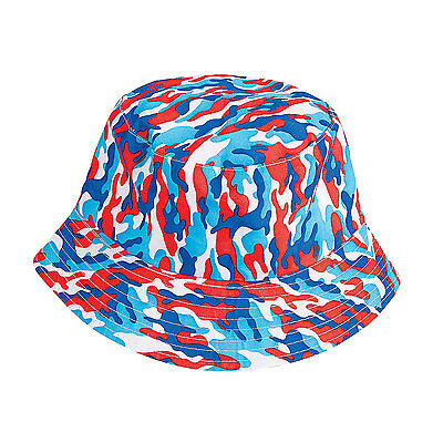 Unisex Red White & Blue Camo 4th of July Patriotic America Bucket Hat Brand New
