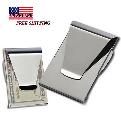 Slim Money Clip Double Sided Cash Credit Card Holder Wallet Stainless Steel WP