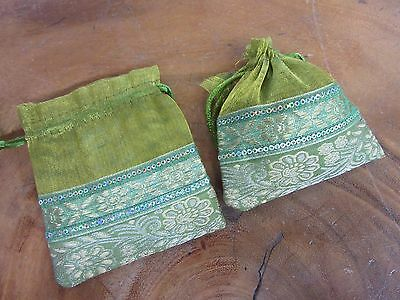 x 1 Green Small Pouch Gift Bag Indian Elephant Draw String 10 x 11 cm