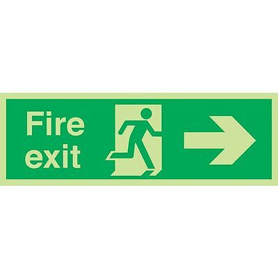 """NEW Nite Glo """"Fire Exit"""" Right Arrow Sign 150 x 450mm"""