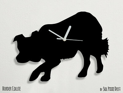 Border Collie Dog Silhouette - Wall Clock