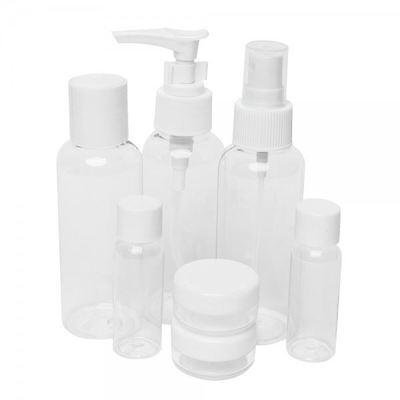 7 Travel Bottle Set Holiday Clear Plastic Jar Bag Flight Air Port Luggage Hand