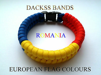 Romania National Flag 550 Paracord Wristband Bracelets European Union World Cup
