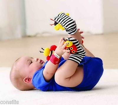 Lamaze wrist & foot rattles for infant/baby, high contrast hand/foot finders