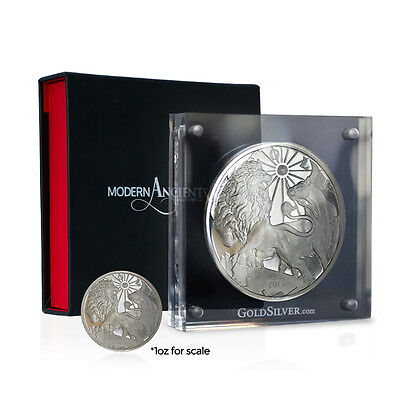 2015 Modern Ancients Series   Lion & Bull   10 oz Silver Proof USA Round Coin