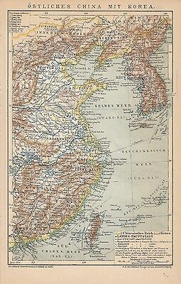 1894 Östliches China East China Korea Historische Landkarte Karte Antique Map