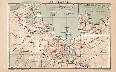 1894 Cherbourg Frankreich France Stadtplan Landkarte Antique City Map Litho
