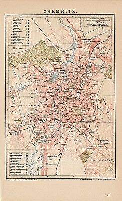 1894 Chemnitz Deutschland Original Alter Stadtplan Antique City Map Landkarte